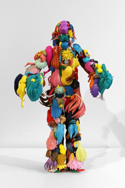 Teppei Kaneuji Teenage Fan Club #42, 2011; plastic figures, hot melt glue  ; 35.5 x 22 x 13.4 cm; enquire