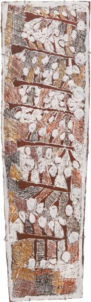 Nyapanyapa Yunupingu 6. Seven Wild Apple Trees, 2009; 3505V; Natural earth pigments on bark; 40 x 140 cm; enquire