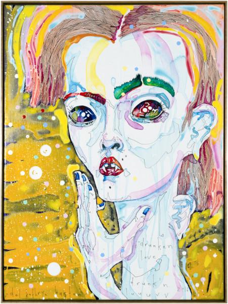 Del Kathryn Barton drunken love, 2016; acrylic on French linen; 83 x 63 cm; (framed); enquire