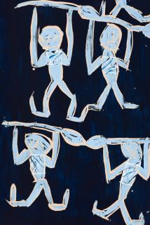 Dhambit Munuŋgurr Dambung'thun - Dancers at Wandawuy (detail), 2021; 1774-21; earth pigments and acrylic on bark; 178 x 58 cm; enquire
