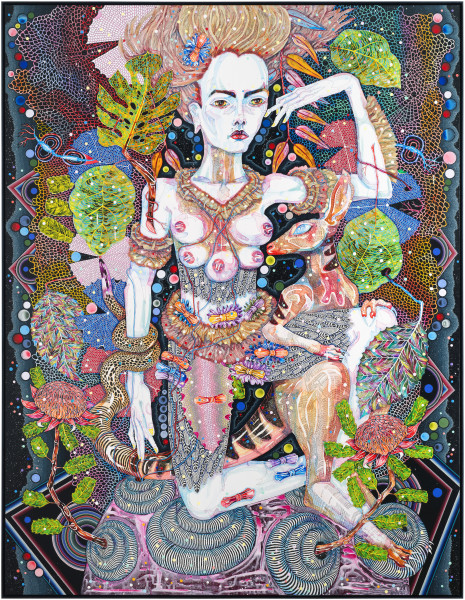 Del Kathryn Barton of pink planets, 2014; acrylic on french linen; 263 x 203 cm; enquire