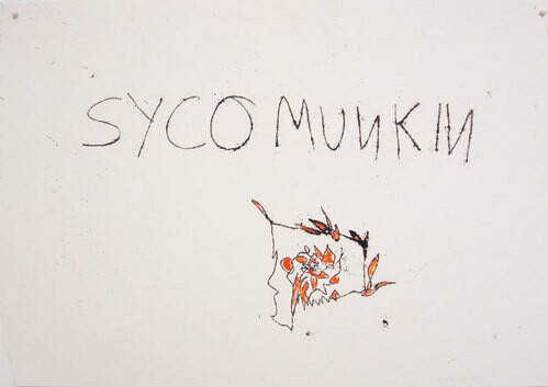 Tracey Emin Sycomunkin, 2003; black and red ink on paper; 30 x 42 cm; enquire