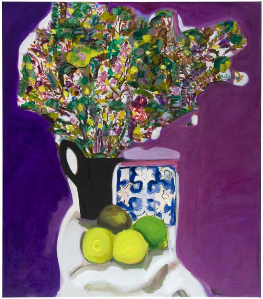 Angela Brennan Still life with a black jug & tile, 2009; oil on linen; 120.5 x 105 cm; enquire