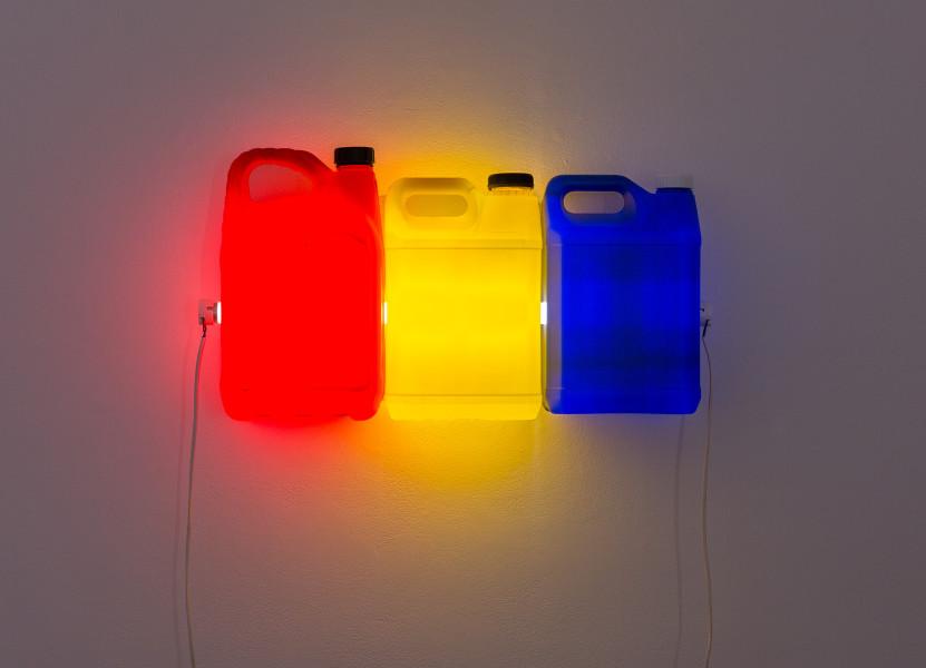 Bill Culbert Red Yellow Blue, 2015; fluorescent light, plastic bottles; 30 x 60 x 12 cm; enquire