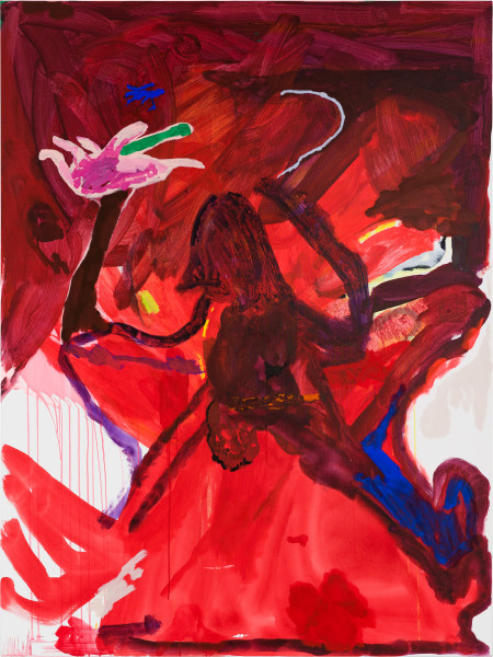 Tom Polo fear of intimacy (hibiscus hand), 2020; acrylic and Flashe on canvas; 182 x 138 cm; enquire