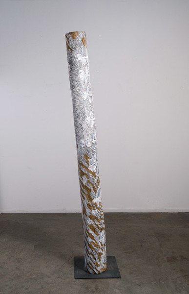 Nyapanyapa Yunupingu 26. Untitled, 2013; 4447D; natural earth pigments on hollow log; 208 x 20 x 20 cm; enquire