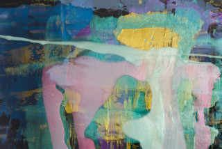 Dale Frank She grew up in Maitland and hated fried rice (detail), 2021; Interference colour pigment in Easycast, Epoxyglass, on Perspex; 200 x 180 cm; enquire