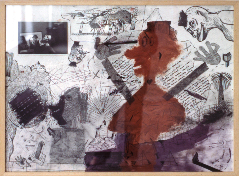 "Gareth Sansom ""DU? DU? DU?"", 1981; mixed media on paper; 56.6 x 77 cm; enquire"