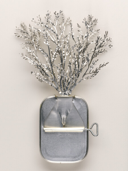 Fiona Hall Atnyem, (Alyawarr) / Acacia kempeana / Witchetty bush, 1999; from the series Paradisus Terrestris; aluminium & tin; 26 x 18 x 4 cm; enquire