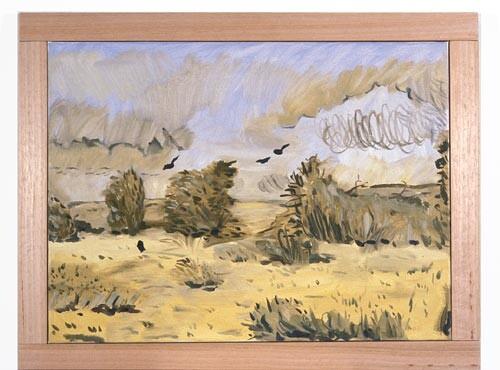 Linda Marrinon Four Crows at Laverton, 1996; Oil on canvas; 61 x 46 cm; enquire