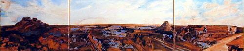 Mandy Martin Uxmal, 2002; pigment, ochre, hematite, mica, wax medium & acrylic binder on paper; 30 x 140 cm; triptych; enquire