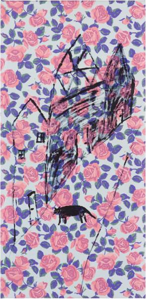 Jenny Watson cat in a village le candle, 1993; oil on cotton; 152 x 76 cm; enquire