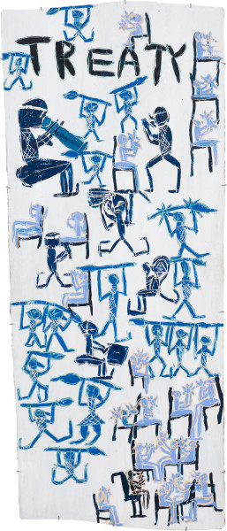 Dhambit Munuŋgurr Treaty, 2021; 1468-21; earth pigments and acrylic on bark; 234 x 100 cm; enquire