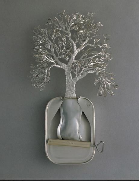 Fiona Hall Karra-wari (Pitjantjatjara) / Eucalyptus microtheca / Coolibah tree, 1999; from the series Paradisus Terrestris; aluminium & tin; 26 x 18 x 4 cm; enquire