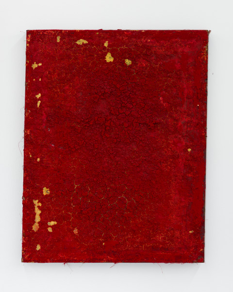 Kirtika Kain The Solar Line VI, 2020; Gold paint, sindoor pigment, binder medium, disused silk screen; 59 x 46 cm; enquire