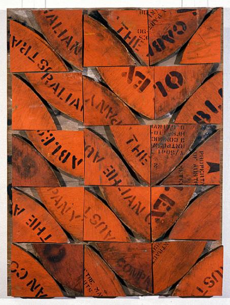 Rosalie Gascoigne Rose Hips, 1998; sawn wood on wood; 88 x 66 cm; enquire