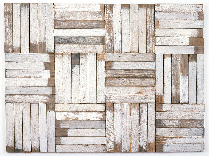 Rosalie Gascoigne Untitled (12 squares of 6), 1980-81; sawn weathered wood; 90 x 119.5 cm; Enquire