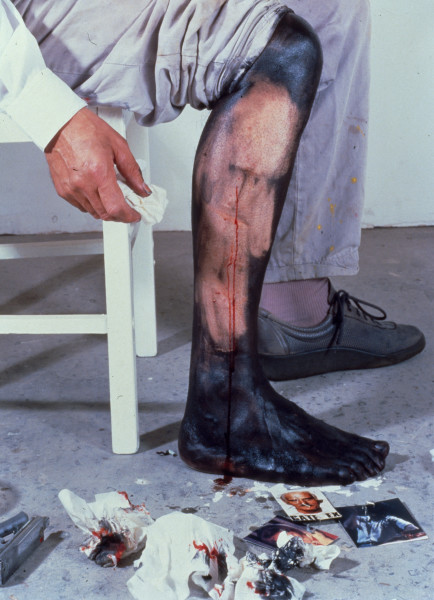 Mike Parr Blackleg (Mama/Papa), 1993; performance documentation, four type C colour photographs; 60 x 49 cm; enquire