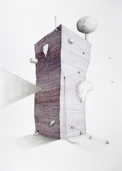 Teppei Kaneuji Tower #1, 2009; Ball-point pen & pencil on paper; 76 x 54 cm; enquire