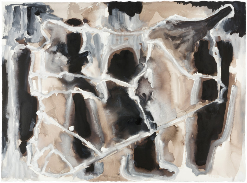 Fiona Hall Cage (Syria map 10), 2017; Cat no. 50; gouache and tapa dye on rag paper; 57 x 76 cm; enquire
