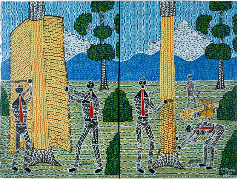 Robert Campbell Jnr Marking the Initiation Tree, 1987; acrylic on canvas; 91 x 120 cm; enquire