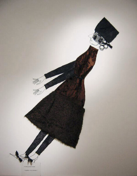 Jacqueline Fraser A sliding portrait eluded >, 2003; from the series AN ELEGANT PORTRAIT REFINED IN ELEVEN STUDIOUS PARTS >; wire, faux fur from Chelsea, N.Y., face veil Yves St Laurent beaded haute couture fabric, La Pigalle, Paris,; 245 x 120 cm; enquire