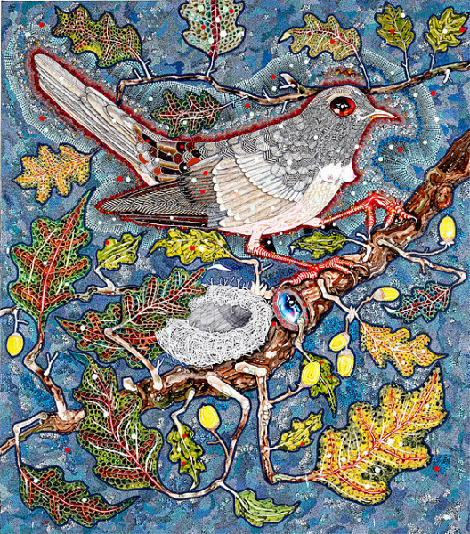 Del Kathryn Barton from her nest in the oak tree the nightingale heard him, 2011; acrylic, gouache, watercolour and ink on polyester canvas; 173 x 153 cm; enquire
