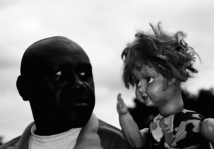 Destiny Deacon Man & Doll (b), 2005; lightjet print from orthochromatic film negative; 81 x 111.2 cm; Commissioned by the Australian Centre for Contemporary Art as part of NEW05; Edition of 15; enquire