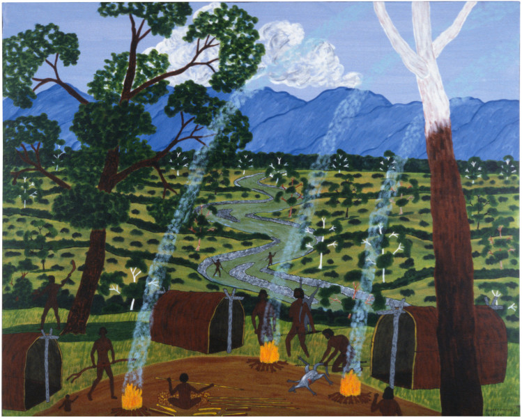Robert Campbell Jnr Abo Camp Site, 1987; acrylic on canvas; 101 x 124.5 cm; enquire