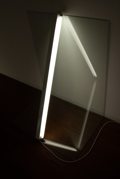 Bill Culbert Light leaning in and going down, 2009; glass, fluorescent lights; 108 x 88 x 63 cm; enquire