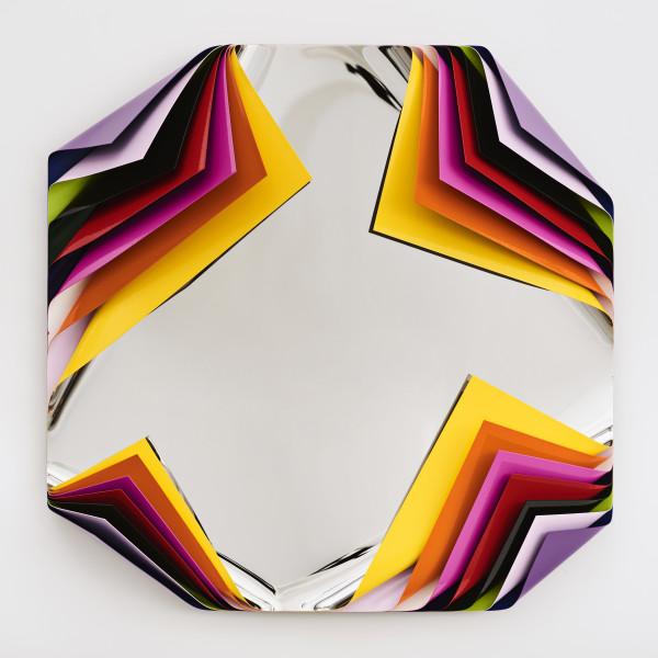 Jim Lambie Metal Box (Fez), 2019; polished steel and aluminium sheets, gloss paint; 80 x 80 x 22.5 cm; 20 kg; Enquire