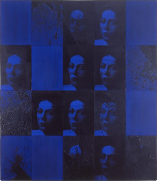 Lindy Lee Dark Brightness, 1999; photocopy, oil, acrylic and wax on board; 20 panels, 166 x 146.5 cm; enquire