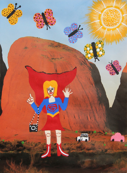 Kaylene Whiskey Super Girl on Country, 2020; Acrylic on found print; 30 x 20 cm; enquire