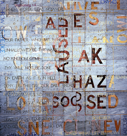 Imants Tillers Spring Frost (for G. B.), 2008; acrylic, gouache on 54 canvasboards nos. 78536 - 78589; 228.6 x 213.5 cm; enquire