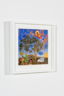 installation view; Kaylene Whiskey Wonder Woman flying over Country, 2020; Acrylic on found print; 22 x 22 cm; enquire