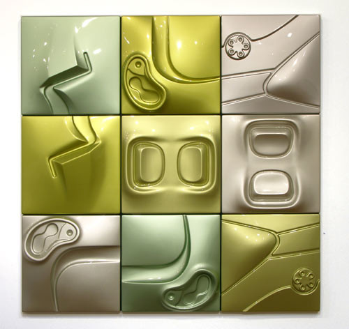 Patricia Piccinini Radium, 2005; ABS plastic and automotive paint, 9 panels; 150 x 150 x 10 cm; each panel: 50 x 50 x 10 cm; enquire