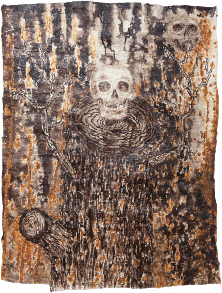 Fiona Hall Last Man Standing, 2013; bark cloth with earth pigments and plant dyes; 205 x 155 cm; enquire