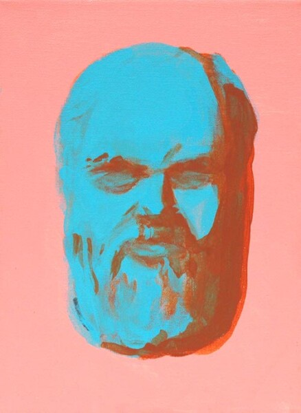 Tony Clark Bearded Man, L, 2004; acrylic and permanent ink on canvas; 24.5 x 18.5 cm; enquire