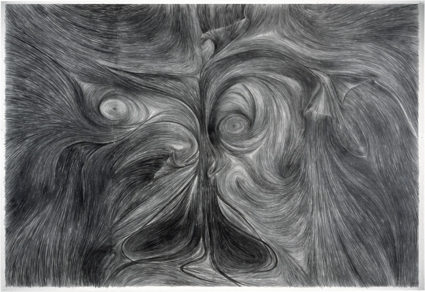 Dale Frank (Portrait) in the Face of Intestinal Fortitude. Confrontation, 1982; graphite on paper; 188 x 268 cm; enquire