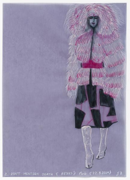 Jacqueline Fraser DON'T MENTION DEATH >, 2004; aquarelle on French claque paper; 30 x 21 cm; enquire