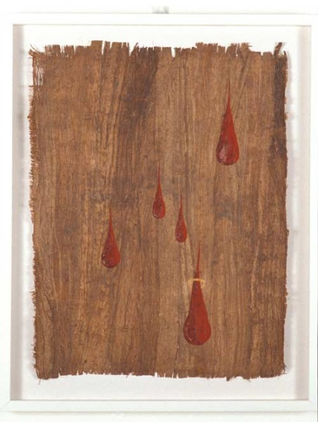 Nell Being, Singing, Knocking, Dripping, Welcoming, 2003; gouche & watercolour on bark; enquire