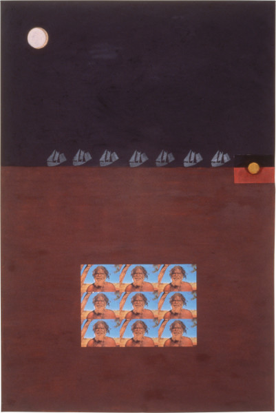 Fiona Foley 1788 Enter The White Savages, 1989; pastel, oil stick, pencil, collage and hair on paper; 152 x 102 cm; enquire