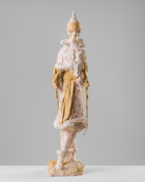 Linda Marrinon Poiret in fancy dress 1914, 2020; terracotta and plaster; 84 x 20 x 21 cm; enquire