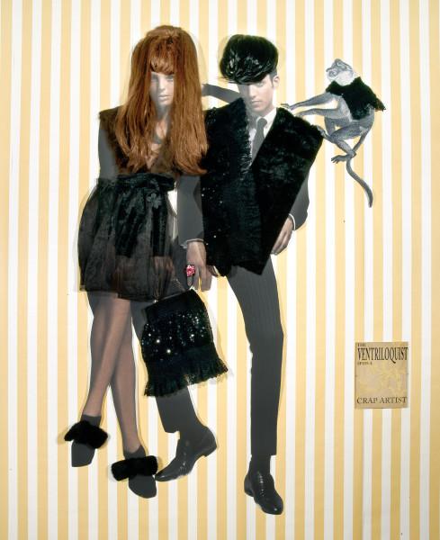 Jacqueline Fraser The Ventriloquist spies a crap artist., 2005; organza, faux fur, sequin knit lace, wigs, back light photo, French silk brocade; 230 x 140 cm; enquire