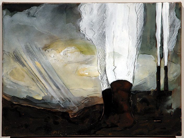 Mandy Martin Epic Fatality; Yallourn Powerstation, Victoria, 2007; Ochre, pigment and acrylic on arches paper; 30 x 40 cm; enquire