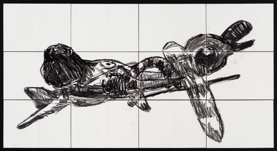 Pierre Mukeba Flying Elephant, 2021; charcoal on archival paper; 90 x 168 cm; enquire