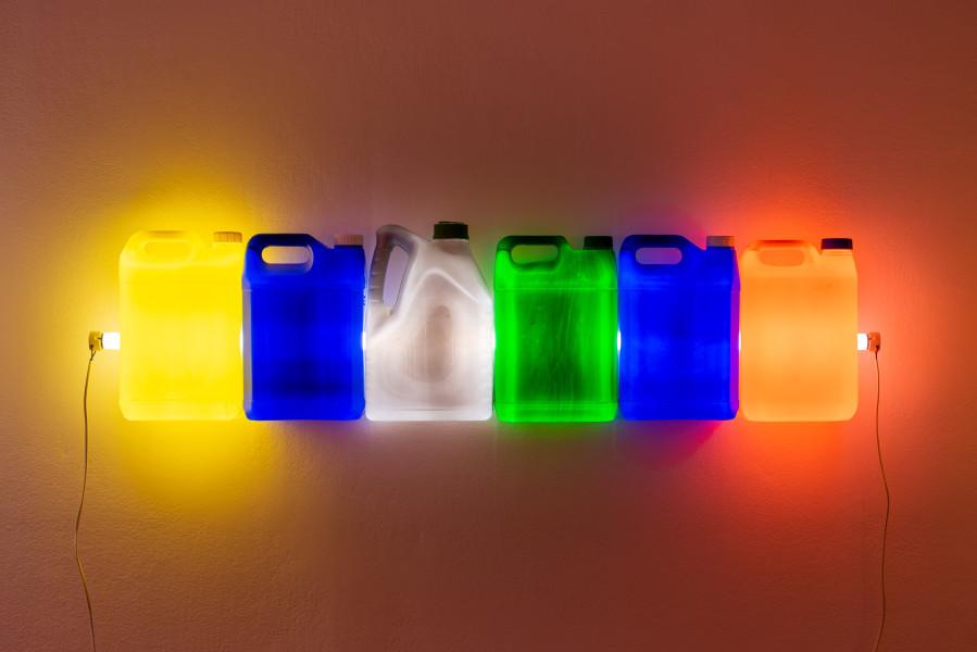 Bill Culbert Strait (Yellow Blue Grey Green Blue Orange), 2015; fluorescent light, plastic bottles; 31 x 120 x 12 cm; enquire