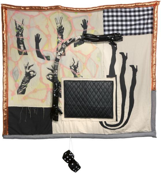 Sarah  Contos Joyride (Quilt for an Escort Panel Van), 2015; Screen print on linen, acrylic spray paint, various fabrics, poly-fil, found dice, gloves and thread; 175 x 174 x 10 cm; enquire