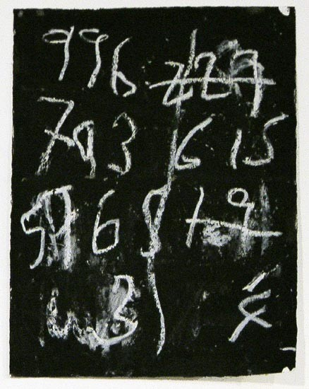 Newell Harry Untitled: Numbers (single unit), 2005; black gesso, oil pastel, on ironed Fabriano paper, single unit; 75 x 56 cm; enquire