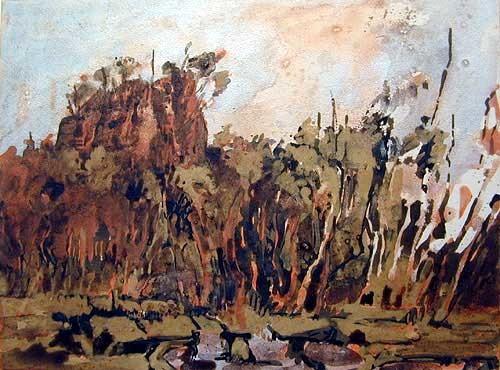 Mandy Martin Peat Bog 2. Salvator Rosa Section, 2002; pigment, ochre, hematite, mica, wax medium & acrylic binder on paper; 30 x 40 cm; enquire
